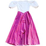 another view of 70's Bright Pink and White Calico Print Prairie Dress