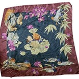 70's Large Bird And Duck Patterned Silk Square Scarf by Leonard