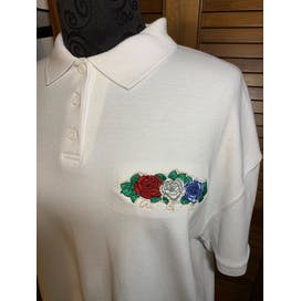 White Red and Blue Flowered USA Button Up Polo