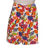 another view of Bright Fish Patterned Silk Shorts by Billy Kidd