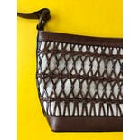 another view of 90's Woven Leather Safari Crossbody Bag by Talbots