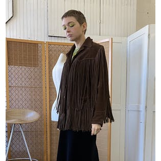 70's Chocolate Suede Fringe Jacket by Trego's Westwear