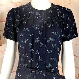 40's Navy Blue Rayon Floral Day Dress by Unbranded