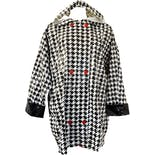 90's Black White and Red Houndstooth Pattern Hooded Vinyl Raincoat by Slippery When Wet