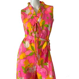 70's Sleeveless Hawaiian Flower Palazzo Jumpsuit by Loungees
