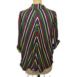 another view of 70's Rainbow Striped Rayon Jacket by Wayne Maid