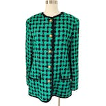 80's Mint and Black Collarless Gingham Blazer by Leslie Fay Sportswear