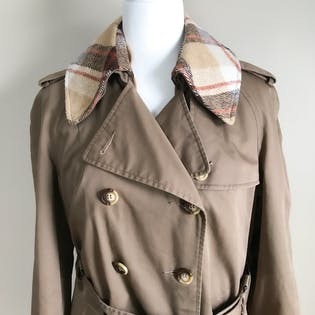 70's Belted Trench Coat with Plaid Collar and Liner
