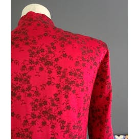 70's Red and Black Floral Tunic Jacket by Dawn Joy Ii