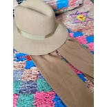 another view of 60's Camel Brown Wool Doeskin Scarf Fedora Hat