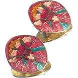 Pink and Gold Floral Iris Painting Prong Earrings