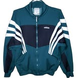 90's Green and White Striped Track Jacket by Adidas