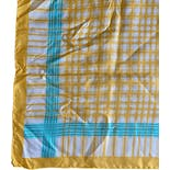 another view of 60's Yellow Teal Plaid Silk Square Scarf by Echo