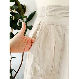 80's High Waist Pleated Khaki Linen and Cotton Blend Skirt by Chaus