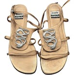 Gold Tone Leather Sandals with Silver Snake Detail by Jamie Sadock