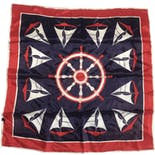 Red White and Blue Sailboat Print Nautical Theme Scarf