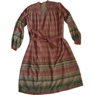 70's Silk Pattern Self Belt Shift Dress