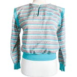 80's Gray Pink Blue White Striped Sweatshirt by Upper Level