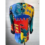 another view of Multicolor Abstract Print Blazer