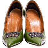 another view of 50's Green Stiletto Pumps by Martinique