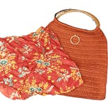 another view of Orange Crocheted Wood Handle Bag