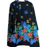 another view of 70's Black Kimono Cardigan with Multicolor Floral Print