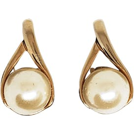 60's Faux Pearl and Gold Clip On Earrings