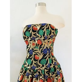 80's Gorgeous Metallic Floral Brocade Strapless Dress by Victor Costa
