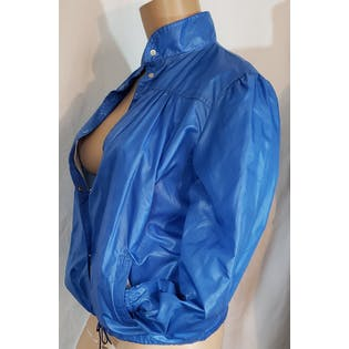 80's Oversized Blue Windbreaker with Puff Sleeves by Windy Weather