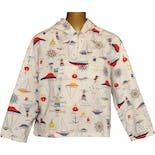 60's Nautical Print Womens Popover Jacket by Vintage