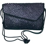 80's Navy Wicker Shoulder Clutch Purse by Lesco