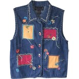 90's Rainbow Button Embroidered Denim Vest by New Directions