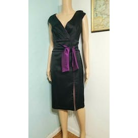 70's Black and Purple Satin Cocktail Dress by Tadashi