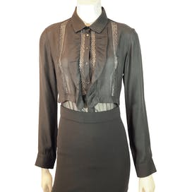 Black Ruffle Blouse by Sandro