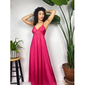 Hot Pink Night Gown with Lace by Miss Elaine
