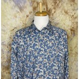 another view of 90's Men's Blue Paisley Snap Button Up Western Shirt by Wrangler