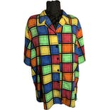 80's Bright Multicolor Square Block Button Up Top by Notations Woman