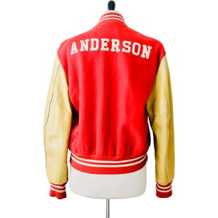 80's Anderson Red and Tan Faux Leather Letterman Jacket