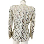 another view of 80's Light Seafoam Green Ribbon Lace Sequin Blazer by J. Benjamin