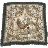 another view of Floral Bird Print Frayed Scarf by Salvatore Ferragamo
