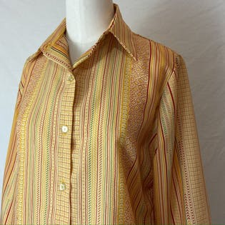 70's Novelty Striped Collared Pussy Bow Blouse by Alex Colman