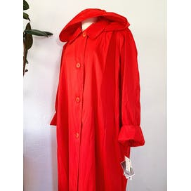 80's Red Water Repellant Long Coat with Removable Hood by Vision Made In Usa
