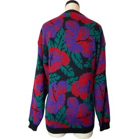 80's Bold Jewel Tone Hibiscus Floral Sweater by Albee