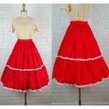 another view of 50's Red Mexican Rockabilly Cotton Circle Skirt
