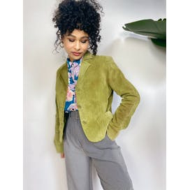 Olive Green Crop Suede Blazer Jacket by Metro Style