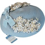 another view of 50's Deadstock Light Blue Floral Straw Close Hat by Brentshire