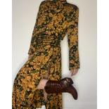 another view of 80's Floral Mustard Ruched Maxi