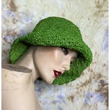 another view of 90's Deadstock Green Crochet Beach Hat by Betmar