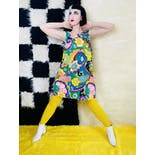 another view of 60's/70's Psychedelic Rainbow Daisy Trapeze Dress
