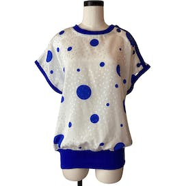80's Button Detail Dot Print Casual Blouse by Andrea Gayle